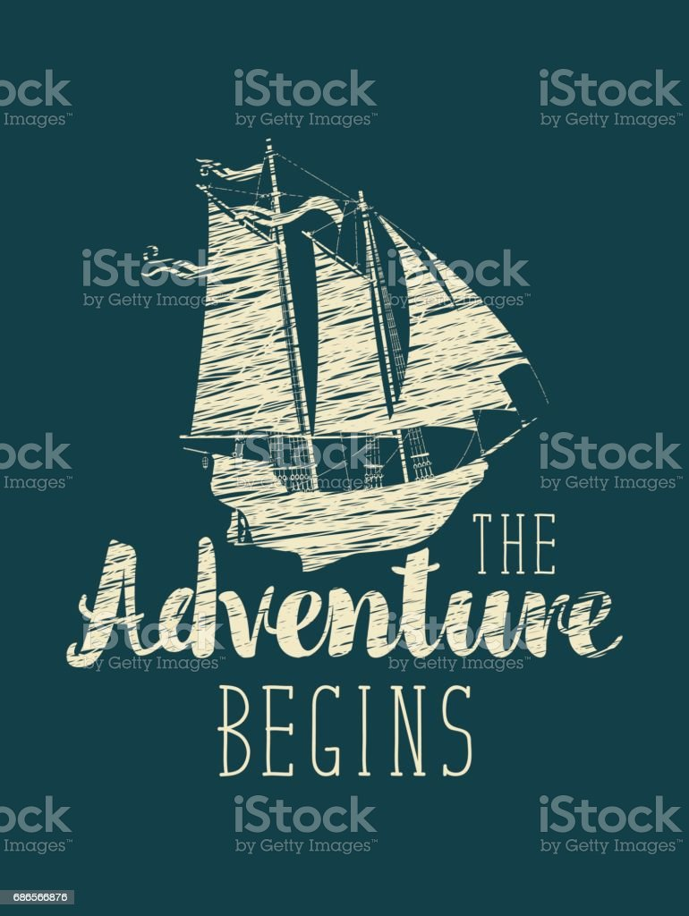 travel banner with sailing ship and inscription vector art illustration