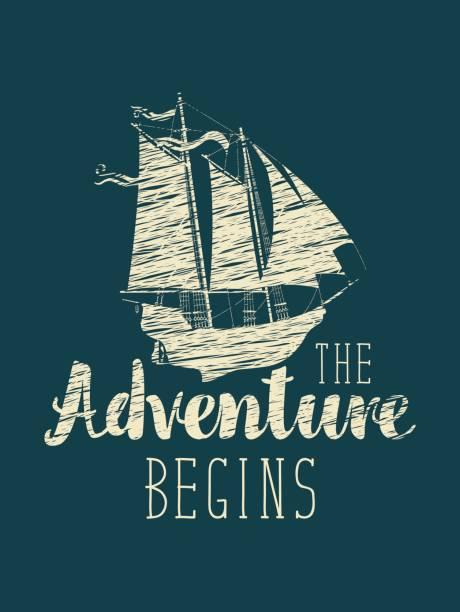 reisebanner mit segelschiff und inschrift - piratenschrift stock-grafiken, -clipart, -cartoons und -symbole