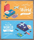 Travel banners in Isometric style. Travel and tourism. Concept website template. Vector illustration
