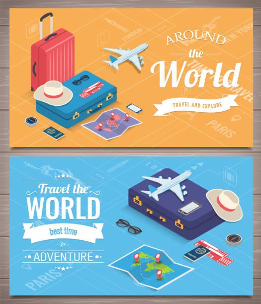 banery podróżne w stylu izometrycznym. podróże i turystyka. koncepcyjny szablon strony internetowej. wektor - podróżowanie stock illustrations
