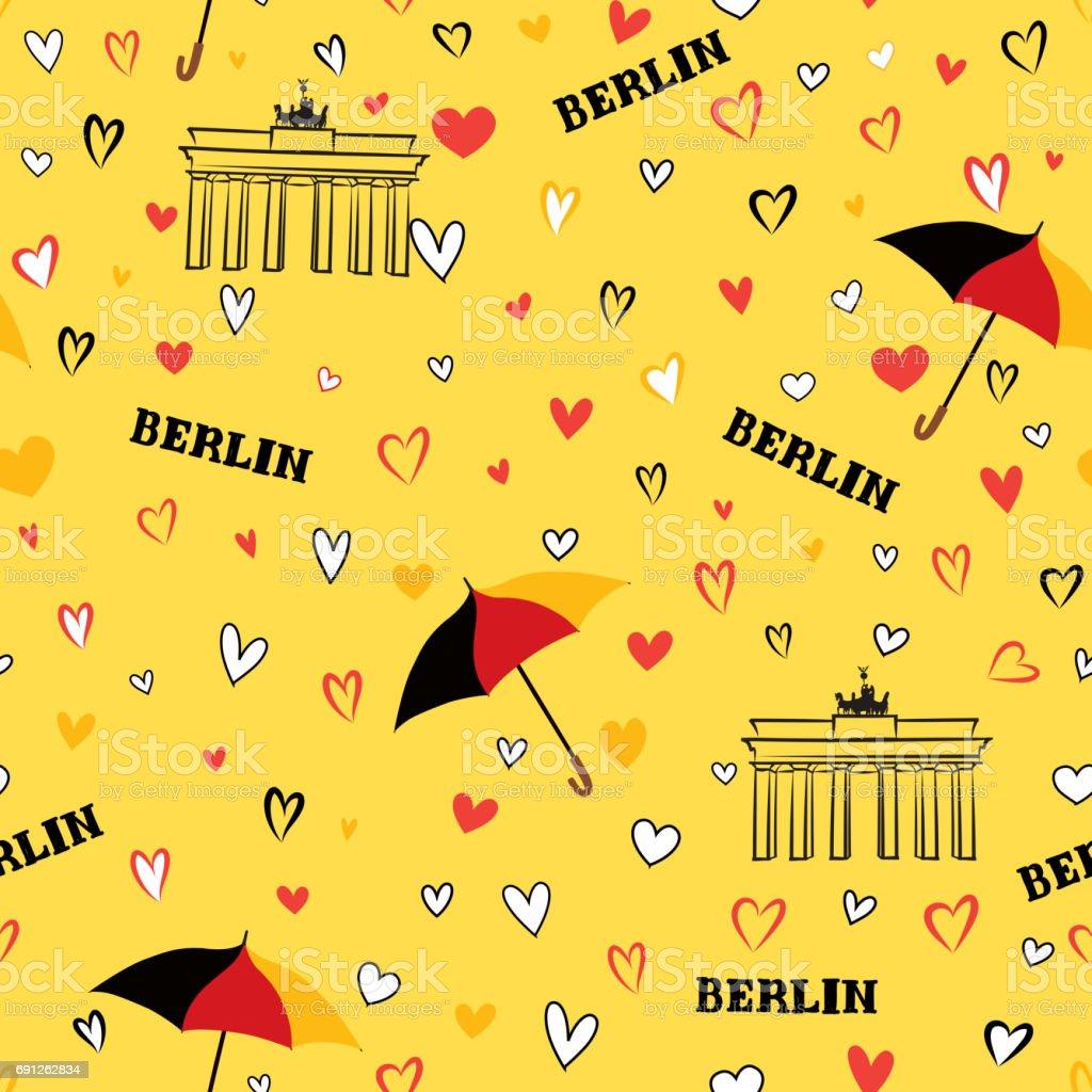 旅行ベルリン市シームレス パターンドイツ休暇壁紙 アイコンの