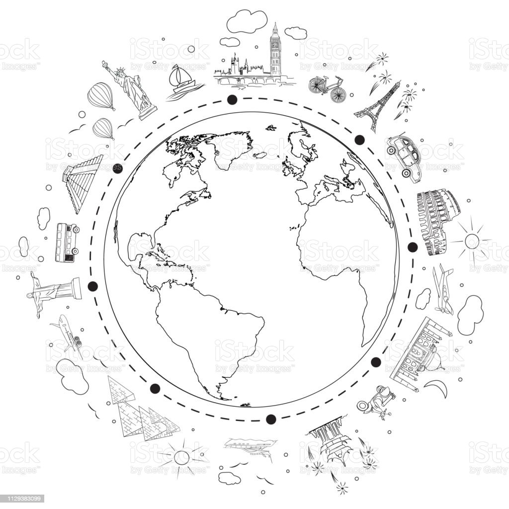 Travel Black And White Sketch Earth With Attractions And
