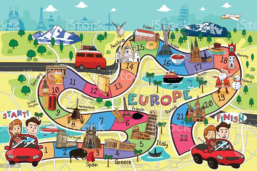 Travel Board Game Design向量藝術插圖
