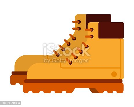 Hiking yellow boots with laces vector flat material design isolated on white