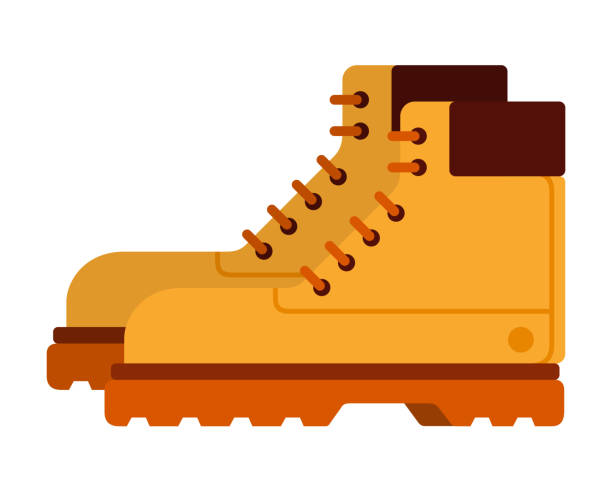 travel boots vector flat isolated - boot stock illustrations