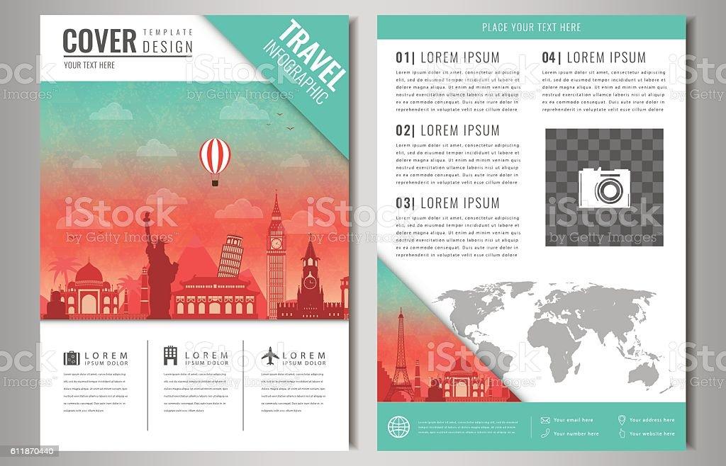 Travel brochure design with famous landmarks and world map. vector art illustration