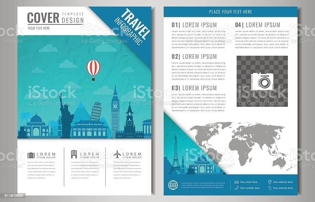 Travel Brochure Design With Famous Landmarks And World Map Stock ...