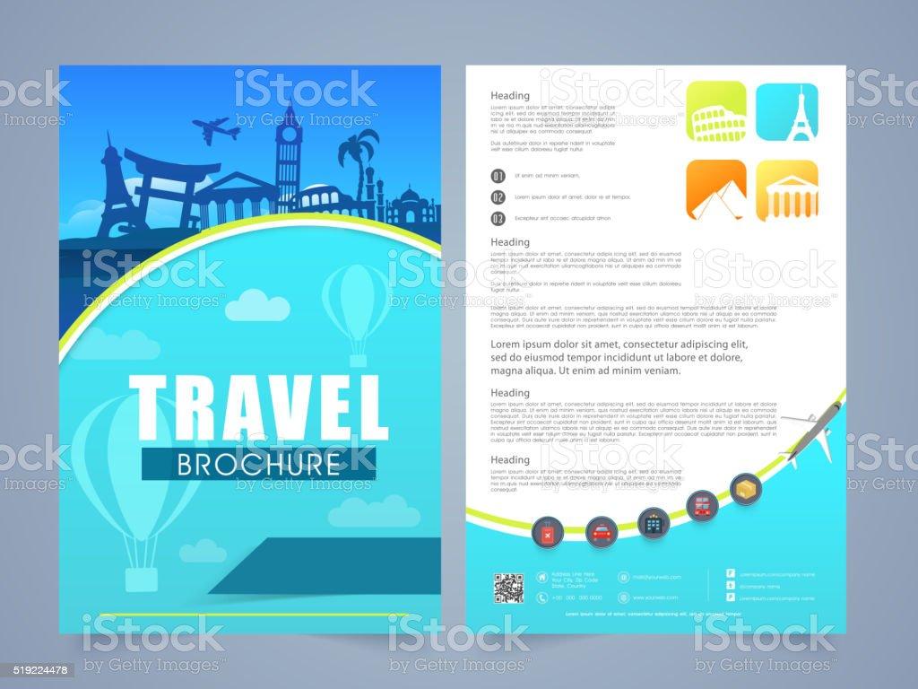 Travel Brochure Template Or Flyer Design Stock Illustration