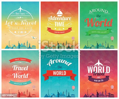 Travel brochure with world landmarks. Template of magazine, poster, book cover, banner, flyer. Vector illustration