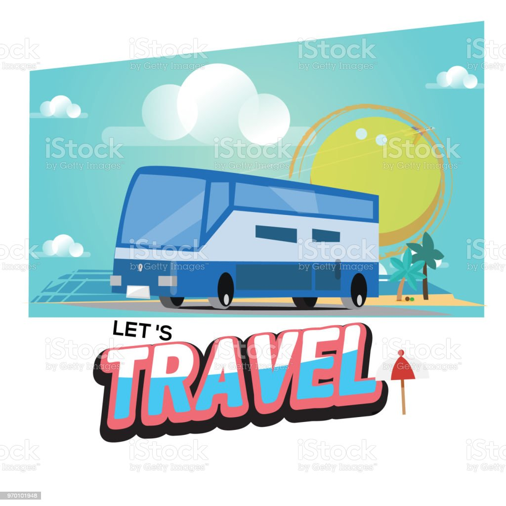 Travel Bus With Text Lets Travel Journey In Holiday Travel