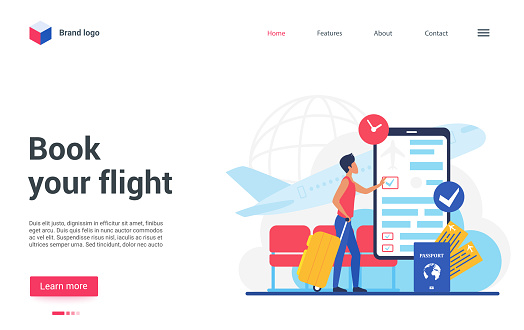 Travel business technology to book flight landing page, traveler booking airplane ticket