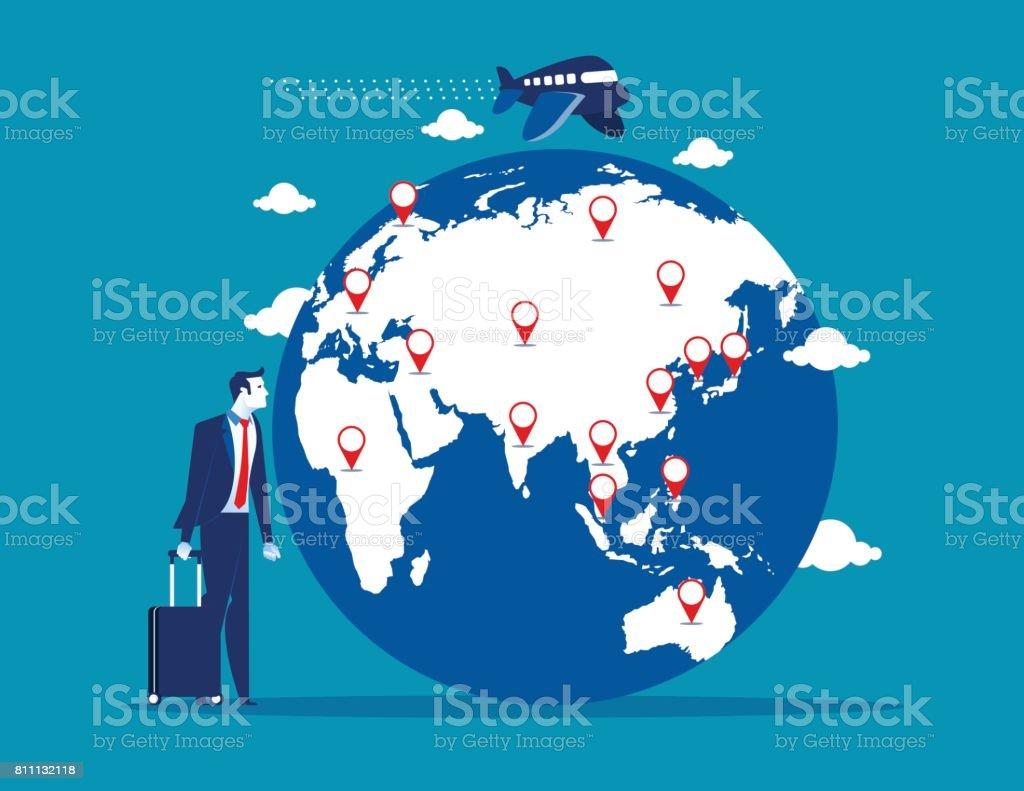 旅行。スーツケースと世界地図を持ったビジネスマン。コンセプト事業ベクトル イラスト。 ベクターアートイラスト
