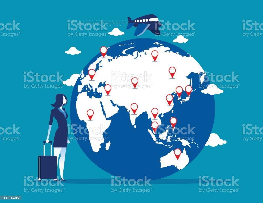 旅行。スーツケースと世界地図で実業家。コンセプト事業ベクトル イラスト。 ベクターアートイラスト