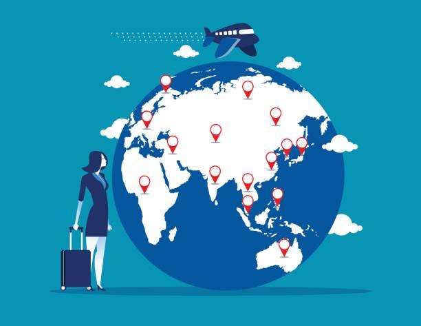 旅行。スーツケースと世界地図で実業家。コンセプト事業ベクトル イラスト。 - 出張点のイラスト素材/クリップアート素材/マンガ素材/アイコン素材
