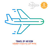 istock Travel By Air Continuous Line Editable Stroke Line 1254297575