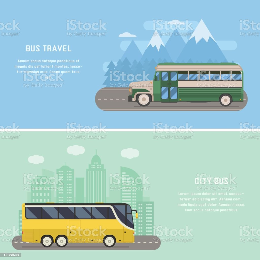 Travel by Bus Concept Banners vector art illustration