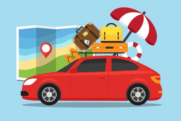 Viaje en coche - ilustración de arte vectorial