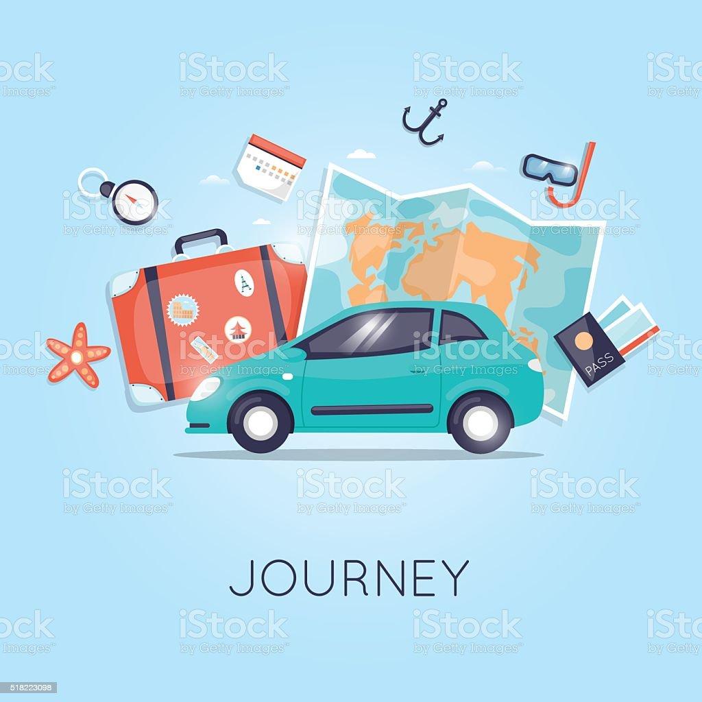 Viagem de carro. Viajar pelo mundo. Planejando as Férias de verão. Férias de verão. - ilustração de arte em vetor