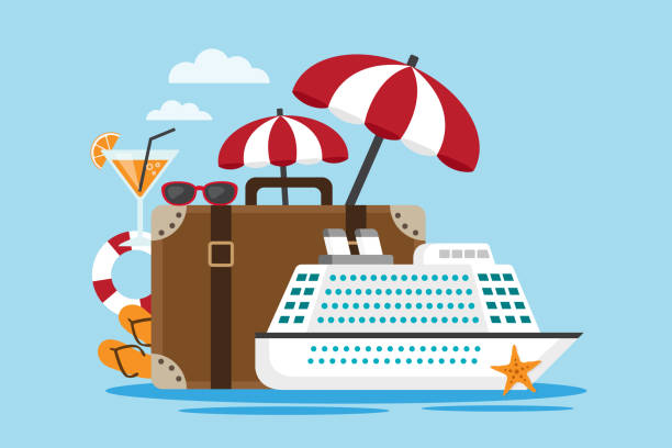 Travel by cruise ship White cruise ship with suitcase and travel accessories. Vector illustration cruise vacation stock illustrations