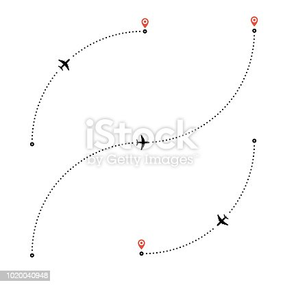 Travel by plane concept. Plane and its track on white background. Air travel vector illustration. Dotted lines are flight paths of passenger jet airplanes. Flat style. EPS 10.