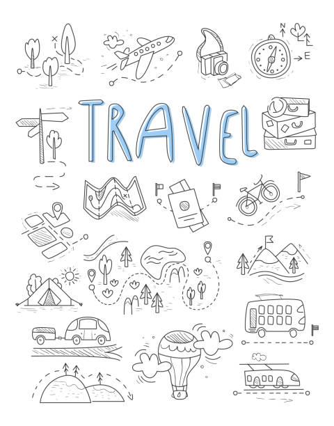 Symbole für Reisen und camping in Doodle Stil große-set – Vektorgrafik