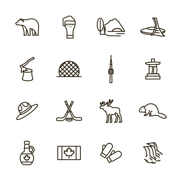 Travel Canada Signs Black Thin Line Icon Set. Vector Travel Canada Signs Black Thin Line Icon Set Include of Hockey, Moose, Maple Syrup and Bear. Vector illustration of Icons beaver stock illustrations
