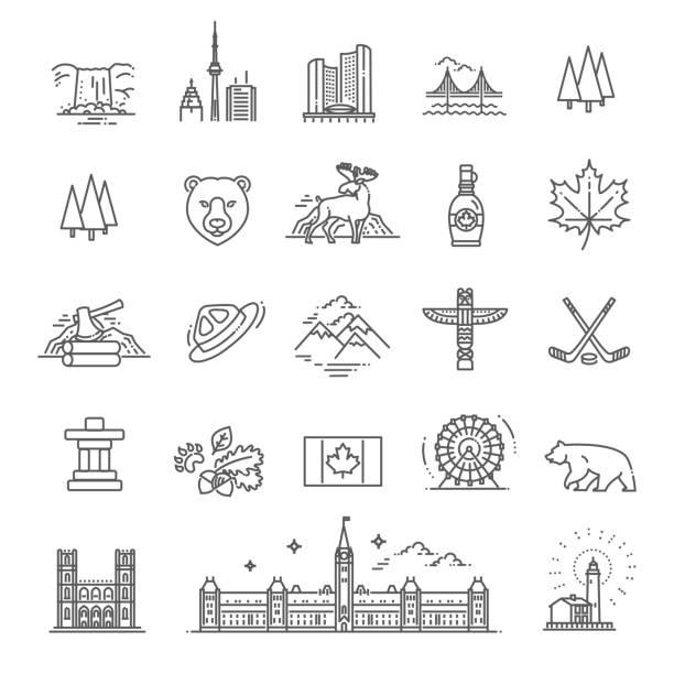 podróżować kanada tradycyjnych obiektów - kanada stock illustrations