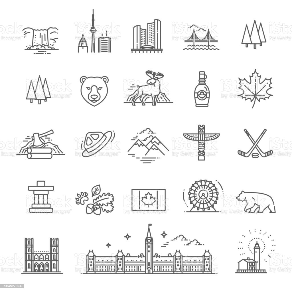travel Canada traditional objects vector art illustration
