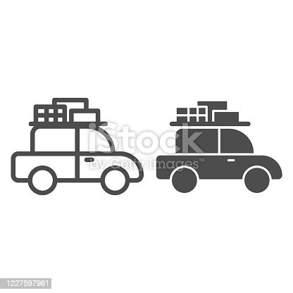 Travel car line and solid icon, Summer vacation concept, retro car with luggage on roof sign on white background, vehicle travel icon in outline style mobile concept and web design. Vector graphics
