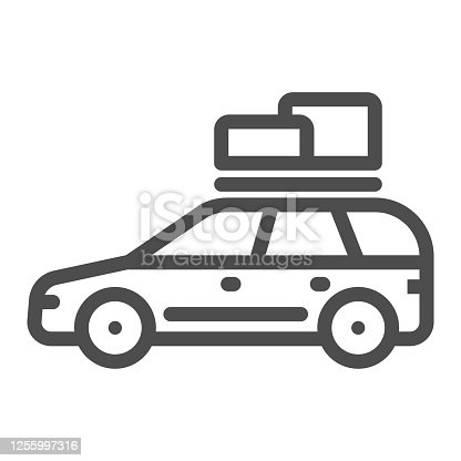 istock Travel car line icon, Summer trip concept, Car rides on picnic sign on white background, automobile with boxes on roof icon in outline style for mobile concept, web design. Vector graphics. 1255997316