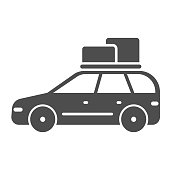 Travel car solid icon, Summer trip concept, Car rides on picnic sign on white background, automobile with boxes on roof icon in glyph style for mobile concept, web design. Vector graphics