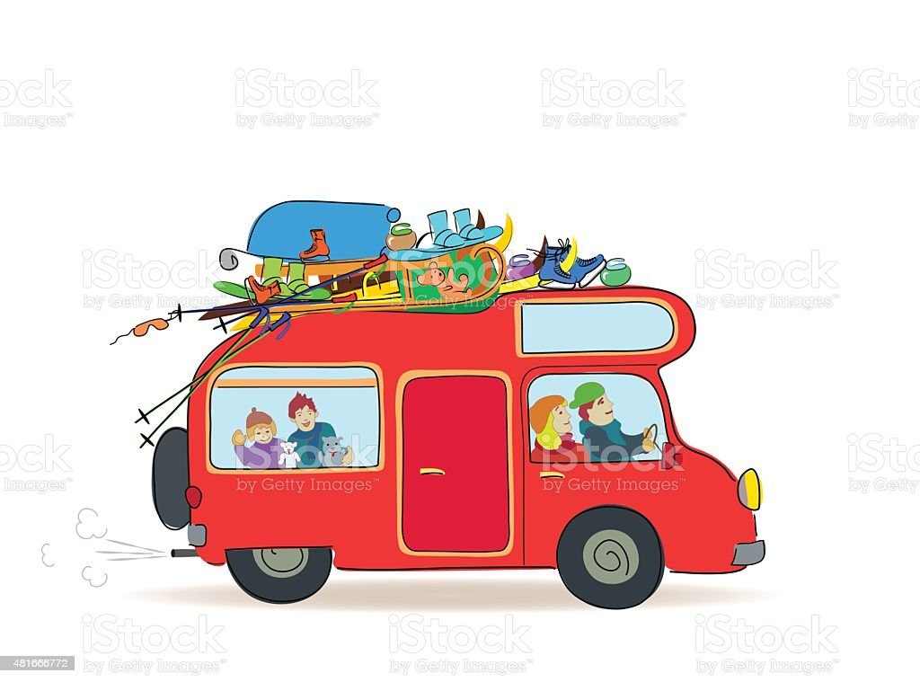 Travel caravan with family, Winter Vacation