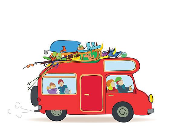 travel caravan mit der familie winterurlaub - urlaubsaktivitäten stock-grafiken, -clipart, -cartoons und -symbole