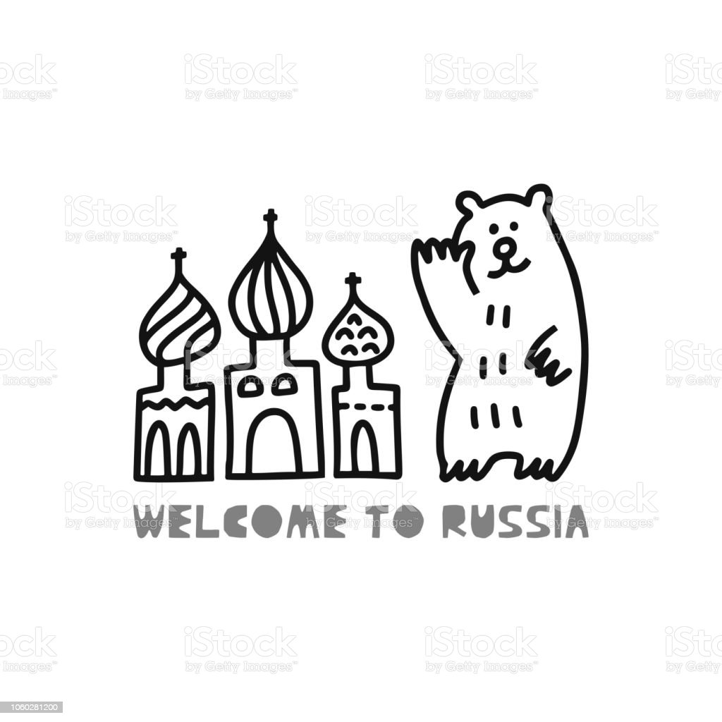 Travel Card Concept With Cathedral Bear And Text Welcome To Russia Doodle  Style Stock Illustration - Download Image Now