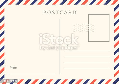 Travel card design. Realistic vintage postcard with red and blue borderline. Vector stock.