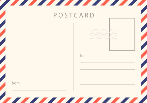 travel card design. realistic vintage postcard with red and blue borderline. - postcard stock illustrations