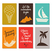 Travel card set. Icons,design elements set isolated. Hot air balloon, mountains, sailing ship, hammock, hearts, island with palm tree. Calligraphic text