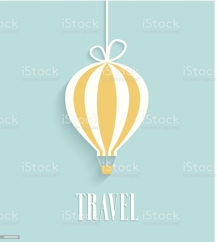 Travel card with hanging air balloon stock vector art more travel card with hanging air balloon royalty free travel card with hanging air balloon jeuxipadfo Choice Image