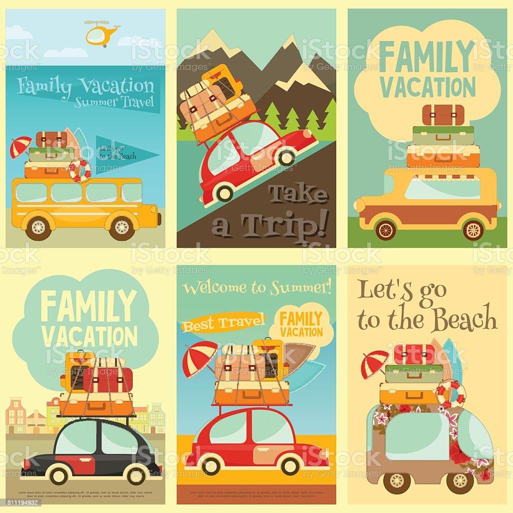 Travel Cards Set vector art illustration