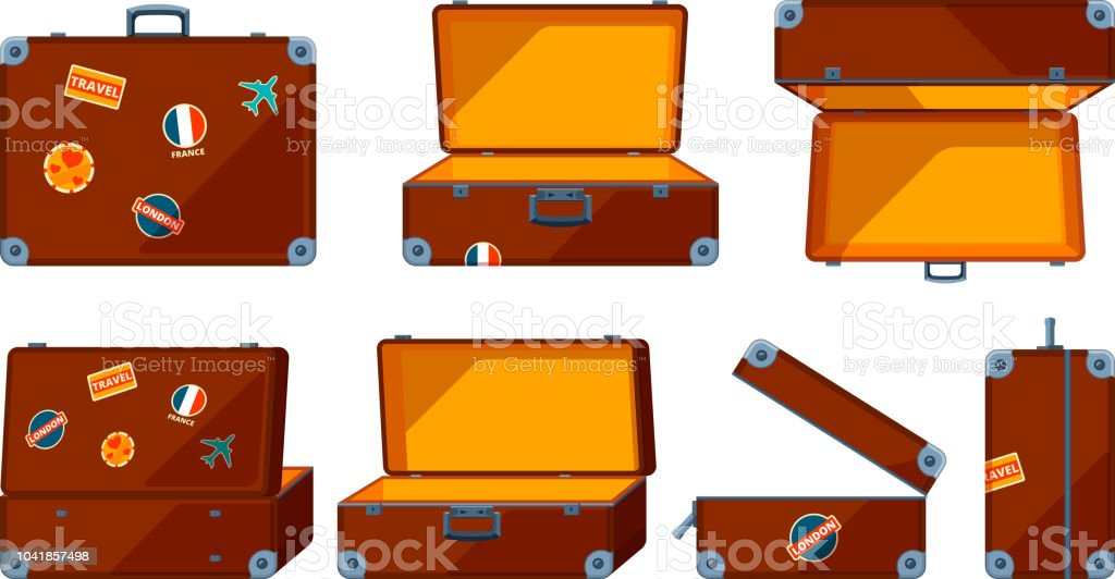 Travel case. Vector various views of travel case royalty-free travel case vector various views of travel case stock illustration - download image now