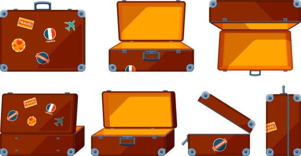 travel case. vector various views of travel case - luggage stock illustrations
