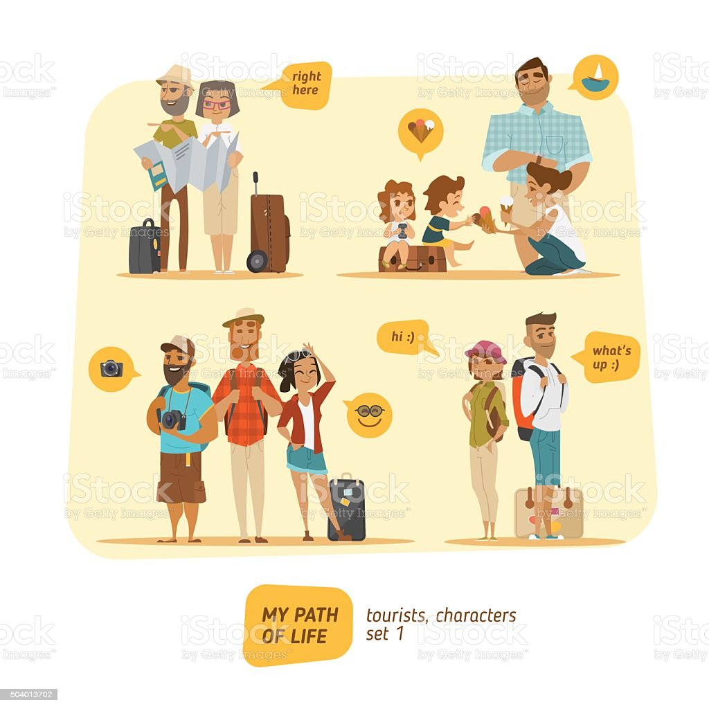Travel Characters Collection. vector art illustration