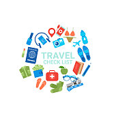 Travel Check List Icons On White Background Baggage Packing Concept Flat Vector Illustration
