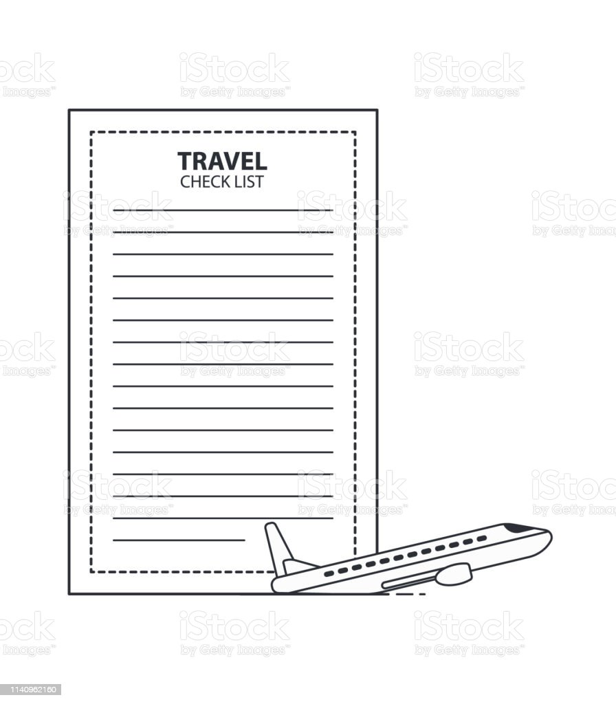 Travel Checklist With The Plane Stock Illustration Download Image Now Istock