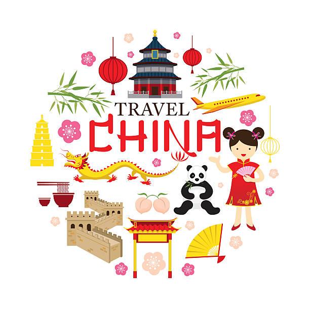 illustrazioni stock, clip art, cartoni animati e icone di tendenza di viaggio icone etichetta cina - pesche bambino