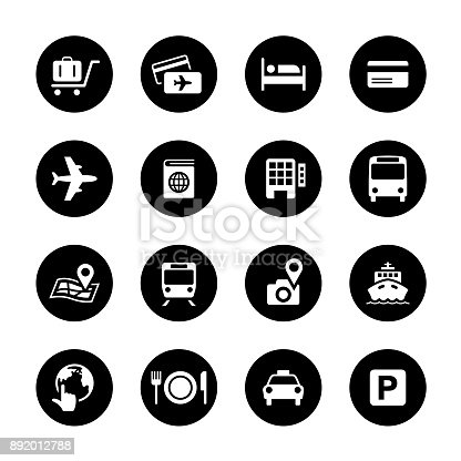 An illustration of travel circle icons set for your web page, presentation, apps & design products. Black & white design and has a metal frame that makes it look dazzling. Vector format can be fully scalable & editable.