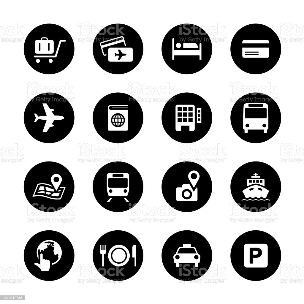 Travel Circle Icons Set vector art illustration
