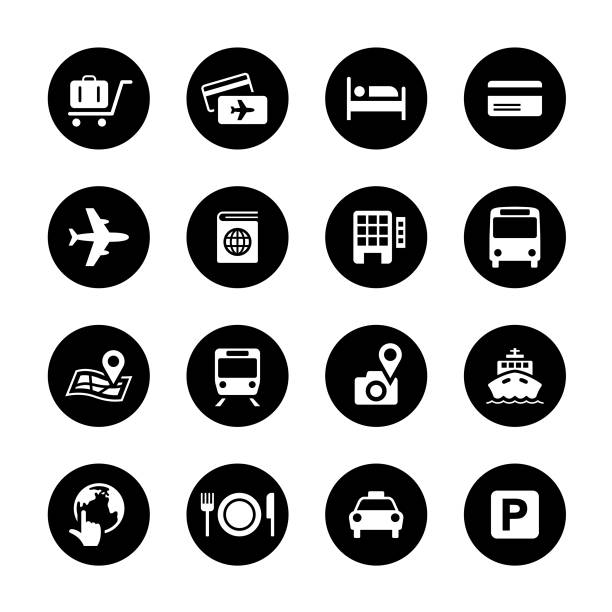 Travel Circle Icons Set An illustration of travel circle icons set for your web page, presentation, apps & design products. Black & white design and has a metal frame that makes it look dazzling. Vector format can be fully scalable & editable. personal land vehicle stock illustrations