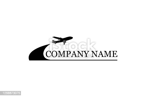 istock A travel company logo with flying plane. Airlines, transportations or logistics company. Vector illustration. 1258873075