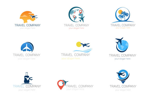 Travel Company Logos Set Template Tourism Agency Collection Of Banner Design Travel Company Logos Set Template Tourism Agency Collection Of Banner Design Vector Illustration travel agents stock illustrations